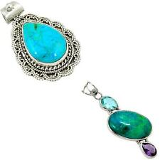 925 sterling silver chrysocolla pendant jewelry by jewelexi 9158A