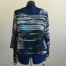 NWT ALFANI Women's Teal Floral Striped Blouson Bell Sleeve Blouse Sz LARGE