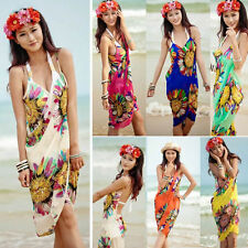 Sheer Pareo Sarong Sunflower Beach Cover Up Wrap Flower Scarf Silk Chiffon Swim