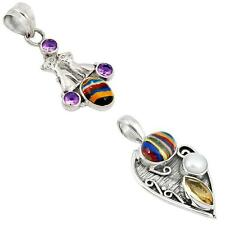925 sterling silver rainbow calsilica pendant jewelry by jewelexi 1076B