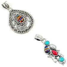 925 sterling silver rainbow calsilica pendant jewelry by jewelexi 1943B