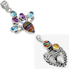 925 sterling silver rainbow calsilica pendant jewelry by jewelexi 2067B