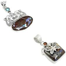 925 sterling silver boulder opal pendant jewelry by jewelexi 3371B