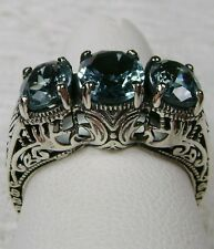*Aquamarine* Sterling Silver Filigree Edwardian/Victorian Ring [Made To Order}