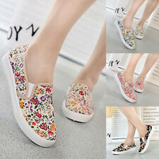 Women Canvas Casual Floral Flowers Slip On Round Toe Flat Shoes Loafer Sneakers