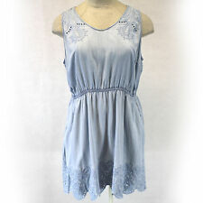 NEW Maurices Plus Size Mineral Wash Blue Denim Embroidered Short Dress size 3/3X