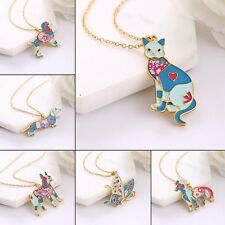 Lovely Enamel Bulldog Dog Butterfly Cat Animal Chain Necklace Charm Pendant Gift