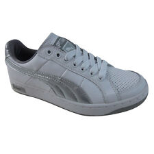 Ladies Puma Court Super II Leather White Silver Trainers Shoes Womens