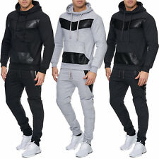 Leather Mens Jogging Suit Jacket Sports Pants Fitness Hoodie Pants Stripe