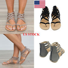 US Women Lady Back Zipper Strappy Roman Sandals Flip Flops Shoes Thong Gladiator
