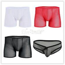 Mesh See-through Underwear Boxer Brief Mens Trunks Shorts Bulge Pouch Underpants