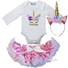 Baby Personalized Unicorn Bodysuit & Pink Polka Dots Pettiskirt Outfit