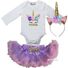 Baby Personalized Unicorn Bodysuit & Lavender Pink Pettiskirt Outfit
