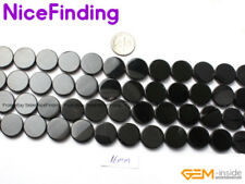 """Natural Coin Black Agate Onyx Gemstone Beads For Jewelry Making Loose Beads 15"""""""
