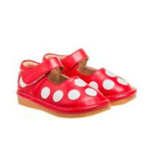 Comfortable Casual Girl's Red/White Polka Dot Toddler  Shoes with Leather Lining