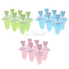 6 Cell Ice Cream Pop Mold Popsicle Maker Tray Pan Kitchen DIY Sticks Included