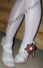2 Pair Hooters Costume PEAVEY HIGH GLOSS TIGHTS & EXTRA LONG SOCKS WHITE