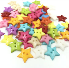 Resin Buttons Mixed Colors Sewing Scrapbooking 2 Holes Star Button 19mm