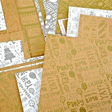 6 x A5 Kanban Foiled Silver & Gold Birthday Celebrations Card Stock 420gsm NEW