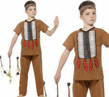 Child Native Indian Warrior Costume Boys Fancy Dress Outfit New Book Day 4-12