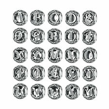 Wholesale  26 letters European Silver CZ Charm Beads Fit sterling 925 Bracelet