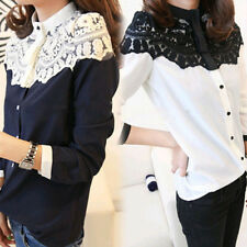 Fashion Korean Women Lace Floral Long SLeeve Chiffon Blouse Button Down T Shirt