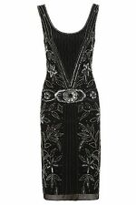 Frock and Frill Black Evening Dress Flapper Charleston Gatsby 1920's Embellished