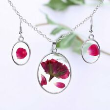 Real Natural Dried Flower Rose Glass Drop Pendant Necklace Earrings Jewelery Set
