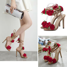 Women Ladies Cross Lace Up Stiletto High Heel Rose Flowers Sandals Shoes Party