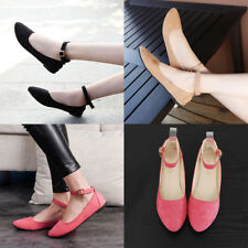 Women Pointed Solid Ankle Strap Flats Buckle Court Pumps Oxfords Shoes Casual