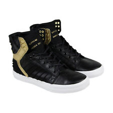 Supra Skytop Evo Mens Black Leather High Top Lace Up Trainers Shoes