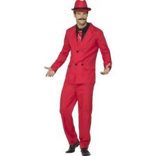 Zoot Suit Mens Fancy Dress Costume Stag Night Outfit Red M-XL