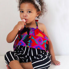 2PCS Toddler Kids Baby Girl Clothes Striped Print T-shirt Crop Top Pants Outfits