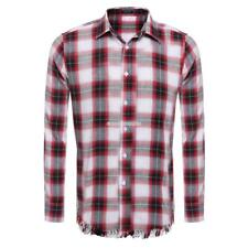 Mens Casual Long Sleeve Button Down Collar Tassel Plaid Shirt EN24H 01