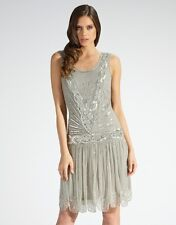 Beaded Flapper Dress Grey Silver Charleston Gatsby 1920's Art Deco Gown Party UK