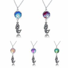 New Design Fish Scale Mermaid Charm Pendant Chain Necklace Rainbow Women Jewelry