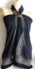 BLACK BEIGE SPOT LONG BEACH SARONG PAREO WRAP WITH FREE COCONUT SHELL BUCKLE