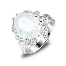 Flower Shaped Oval Cut Rainbow Fire Moonstone Silver Wedding Ring Size 7 8 9