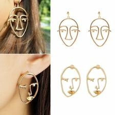 New Unique Gold Silver Hollow Human Face Design Dangle Ear Stud Earrings Jewelry