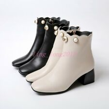 Womens Shoes Ankle Boots Beaded Kitten Heels Synthetic Leather  Zip Plus Size
