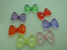 18x30mm 10/15/30/60pcs CLEAR ASSORTED COLORS ACRYLIC BOW TIE BEAD 4948-001