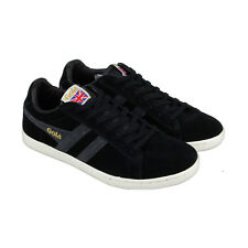 Gola Equipe Suede Mens Black Suede Lace Up Sneakers Shoes