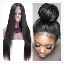 New Brazilian Virgin Human Hair Silky Straight Lace Front Wig With Baby Hair