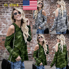 Women Off Shoulder Camouflage T-Shirt Lady Casual Tops Grils Long Sleeve Blouse
