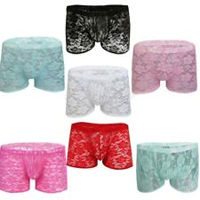 Sexy Men's Sheer Lace Boxer Briefs Shorts Sissy Panties Gay Underwear Lingerie