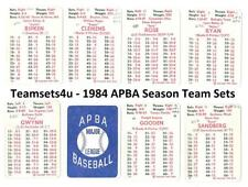1984 APBA Season w/ Extra Players (Written on) Baseball Set ** Pick Your Team **