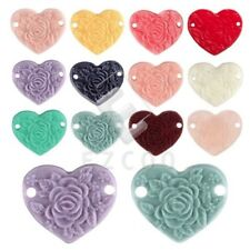 Vintage Flatback Heart Peony Flower Cameo Resin Cabochons 15x13mm Wholesale