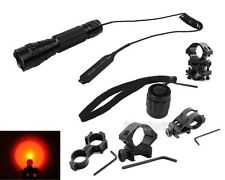 Red light LED Hunting Light Tactical Flashlight w/Pressure Switch optional Mount