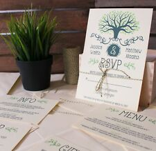 Rustic Personalised Wedding Invitations Set: Day Evening Invites RSVP Envelopes!