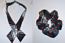 ADJUSTABLE GIRLS' SCHOOL UNIFORM CROSS TIE or Scrunchy Plaid Blue/Red/White NEW
